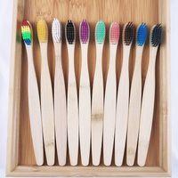 Cepillo de dientes de bambú natural Pelo suave Protección ambiental Hotel Cepillo de dientes Degradable Kraft Papel Papel Papel de Papel Desechable Cepillos de Dientes T2I52040