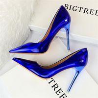Dress Shoes Vogue Women Designer Blue Green High Heels Pumps Patent Leather Stripper Stiletto Wedding Holographic Plus Size Uik