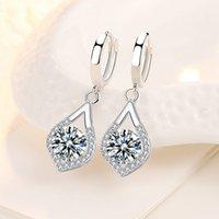 NEHZY 925 sterling silver new women's fashion jewelry earrings high quality blue crystal zircon drop heart-shaped long earrings 2287 Q2