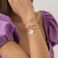 Link, Chain Punk Hip Hop Portrait Coin Bracelet For Women Retro Multilayer Geometric Pendant Fashion Bohemian Jewelry