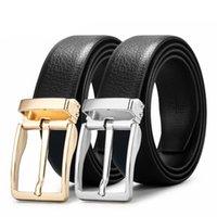 Belts Men Genuine Leather Belt Famous Designer Jeans Pin Buckle Silver High Quality