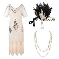 Abiti casual Plus Size 5XL / 4XL Womens Womens 1920s Great Gatsby Flapper Sequin Branelli Abito con accessori Roaring 20s Set per feste