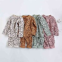 Spring Autumn Baby Boys Pajamas Set 18M-8yrs Children Kids Print Leopard Sleepwear Lounge Wear Cotton Girls Evening Dress 210910