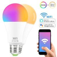 Lampadine 15W E27 B22 Smart LED WiFi RGB Bulb caldo / freddo bianco AC85-265V Dimmable Light Telecomando Telecomando Lavoro con Googl Home Alexa Echo