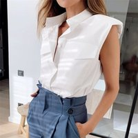 Women's Blouses & Shirts Summer Casual Sleeveless Office Stand Collar Ladies White Womens Street Tops Fashion Female Chic Padded S