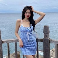 Dresses 2021 Summer Short Skirt Fashion Sweetheart Plaid Suspender with Waist Closed And Chest Open Legs Long Bow Dress