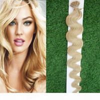 100g i Tip Tip Human Hair Extension Body Wave Fusion Hair Extensions 1g Stränge Remy Pre Conded Keratin Haarverlängerung auf der Keratinkapsel