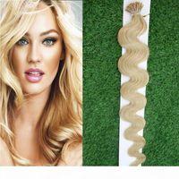 100 g I propensión de la extensión del cabello humano onda de la onda de la onda Extensiones del cabello 1g Strands Remy Prensextion Prensex Peinado de Keratin en la cápsula de la queratina