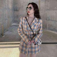 BElla Philosophy Wonder New Vintage Suit Women Girdle Blazer Dress Spring Autumn Sheath Tops Plaid Pocket Jacket Mini Dress 210419