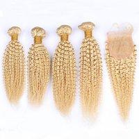 # 613 금발의 변태 곱슬 말레이시아 인간의 머리카락 폐쇄 5pcs 로트 블리드 금발 곱슬 직물 번들 4x4 레이스 폐쇄 조각