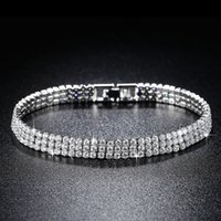 Three Rows Tennis Full Drills 2mm 4mm 925 Sterling Silver Bracelet Bangle For Women 19cm Jewelry