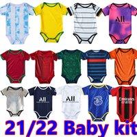 21 22 Baby Soccer Jerseys da 6 a 18 mesi Camicie da calcio Palla Infantile Kit Squadra Body 2021 Abbigliamento strisciante Maillots Futbol