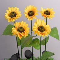 Solars Sonnenblumenlichter Garten Dekorationen Outdoor Rasenlampe Solar LED Landschaft Sonnenblumen Fairy Lampen Nachtlicht Meer HHC7599