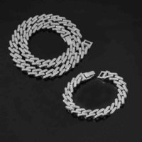 Iced Out Paved Rhinestone Necklace 2pcs 15mm Miami Curb Cuban Link Chain Bling Rapper Bracelet for Men Hip Hop Jewelry