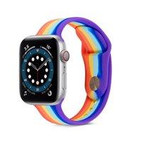 Rainbown Silikon Akıllı İzle Sapanlar Apple IWatch için 6 5 4 3 2 38mm 40mm 42mm 44mm Renk Kontrast Bantları