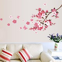Cherry Blossom Flowers Wall Stickers Living Room Bedroom Background Decals Sticker Waterproof Removable Murals Poster