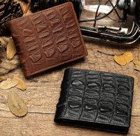 alligator pattern Croligator grain men's cowhide notecase wallet short multi-card large capacity vintage leather billfold cowskin ide clips