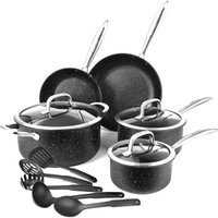 USA Stock Frying Pan 13 pieces Pot Set with 3 Glass Lids and 5 Cookware