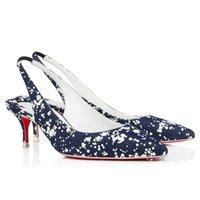 Sandales de fond rouges confortables de luxe Kate Sling Noor 55 mm Designer Femmes High Talons Hauts Chaussures Chaussures Classic Wedding Party Dames Satin Crêpe Pumps Sandal Box EU 35-43