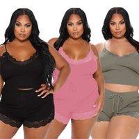 Плюс Размер нижнего белья Женщины Cousssuit Сплошные цветные кружевные наряды Брэлет Урожай Урожай Шорты Две штуки Устанавливает CamiSoles Capris Sughtsuits Leiusuire Home Pajama Набор из ношения 215