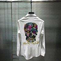Överdriven Design Unga Mäns Stora Skjorta Super Glänsande Big Skull Slim Body Drilling Fashion Märke Långärmade Casual Shirts