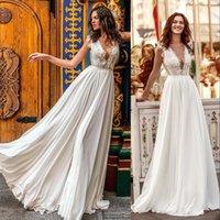 2021 A Line Chiffon Wedding Dress Sexy Deep V Neck Lace Appliques Summer Beach Bridal Gowns Modern Backless Sweep Train robes de mariée Plus Size Bohemian