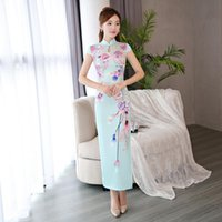 Female Sweet Flower Print Novelty Cheongsam Elegant Mandarin Collar Long Qipao Sexy Slim Hollow Out Chinese Dress S-3XL Ethnic Clothing