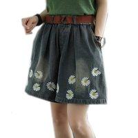Pantalones vaqueros para mujer Denim Fondos cortos de ancho Pierna grande Flojo grande Mini flores de gran tamaño Imprimir dulce lindo para el verano A10211516