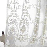 럭셔리 유럽 화이트 코튼 린넨 커튼 부엌 패브릭 얇은 얇은 얇은 얇은 커튼 거실 커튼
