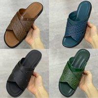 Top Quality Foch Mules Slides Slipper Brown Black Men Sandal Designer Shoes Ostrich Printing Leather Flat Sandals Summer Beach Flip Flop EU47 282