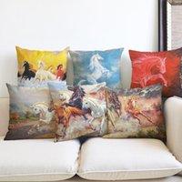 Подушка / декоративная подушка для подушки подушки накачущих лошадей живопись маслом искусство корпус автомобиля красивая пылающая белая черная лошадь хлопчатобумажная льняная подушка