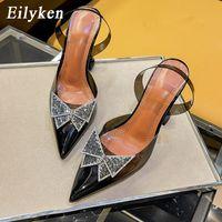 Eillken размер 34-45 летние бабочки-узлы женщины насосы мода странный стиль Tranaparent женский каблук обувь свадебные сандалии обувь FR5554S
