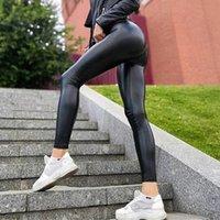 Pantalones de yoga pantalones de piel sintética delgados de cintura alta cintura fitness fitness push up leggins mujer ropa deportiva pantalones de energía gimnasio muchacha medias