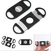 Cep Plastik Paslanmaz Çelik Puro Kesici Bıçak Çift Bıçakları Makas Tütün Puro Aracı ABS Siyah Puro Aksesuarları 424 V2