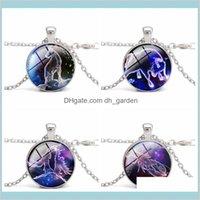 Zodiaco Luminoso 12 Constelación Signo de vidrio Cabochon Luz azul en el encanto oscuro Collar de regalo Joyas al por mayor Fot9l R6boy