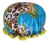 와이드 브리메드 샤워 캡 목욕 모자 방수 더블 레이어 새틴 패브릭 헤어 보닛 라운드 장착 된 모자 머리 랩 욕실 제품 BWE5891
