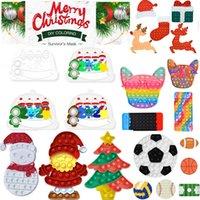 DHL Christmas Fidget Brinquedos Empurre It Bubble Antistress Brinquedos Ano Novo Anti-Stress Presentes Sensoriais Reutilizáveis Presentes Stress Reliever Lápis Saco Moeda Bolsa 2021