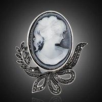 Pins, broches strass na moda oco out estilo vintage cameo cabeça beleza elegante antique casamento broche pinos jóias af037