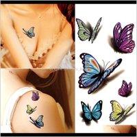 Tatouages Étanche Henna Tatoo Selfie Fake Body Sticker coloré Butterfly 3D autocollants temporaires Art Flash Tattoo TWQP9 7ela9