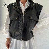 Women's Leather & Faux Simplee Office Lady Button Sleeveless Pocket Pu Jacket Women Black High Street Zipper Short Coat Vest Solid Female Ve