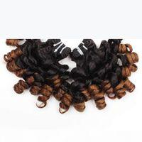 Toptan 100A Funmi Saç Ombre T1B 4 Gül Curl 3 Paketler Örgü Uzantıları Brezilyalı Perulu Malezya Hint İnsan Saç Demetleri 8-18 inç