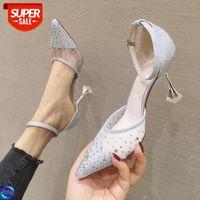 [En stock] 82111 Malla de hadas y tacones de diamantes de imitación Altos 2020 Nueva boca baja puntada Sandalias de mujer con zapatos de diamante Crystal # MW0V