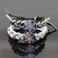 Bracelets de charme mystérieux métatron cube verre bouton-pression bouton bracelet de géométrie sacrée fleur de vie bijoux réfléchi corde tressé hommes