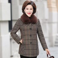 Women's Trench Coats Thick Warm Women Wool Coat Plaid Single Breasted Winter Woolen Overcoat 2021 Woollen