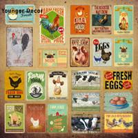 Ferme fraîche Signes Film Poulet Zone Oeufs Vintage Métal Plaque Plaque Poster Peinture Cow Cow Cheveux Milk Art Decor pour la cuisine à la maison Cuisine Yi-228