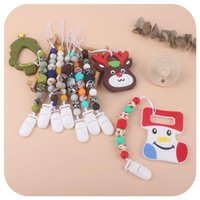 Christmas Silicone Gel Teethe Pacifier Holder Clip Soother Chain Baby Infant Kids Bead Ring With Elk Snowflake Xmas Tree Nipple Teether DIY Cartoon Feeding Chew Toy