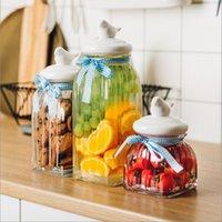Frascos de armazenamento frascos de vidro criativo coberto de chá de frutas secas diversas mercadorias doces alimentos selados cofrinho frascos