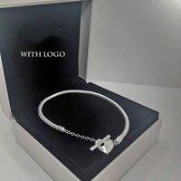 100% 925 Стерлинговые серебряные Серебряные Серебряные Браслеты для Женщин DIY Fit Pandora Бусины с логотипом Дизайн Сердце Т Тип Леди Подарок