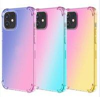 Gradient Dual Color Transparent TPU Shockproof Phone Cases for iPhone 13 12 11 Pro Max XR XS 8 7 6 Plus 13mini