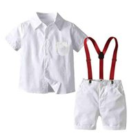 Clothing Sets Summer Boys Gentleman Clothes White Shirt Tops Strap Shorts Baby Toddler Boy Kids Children Outfits Suits